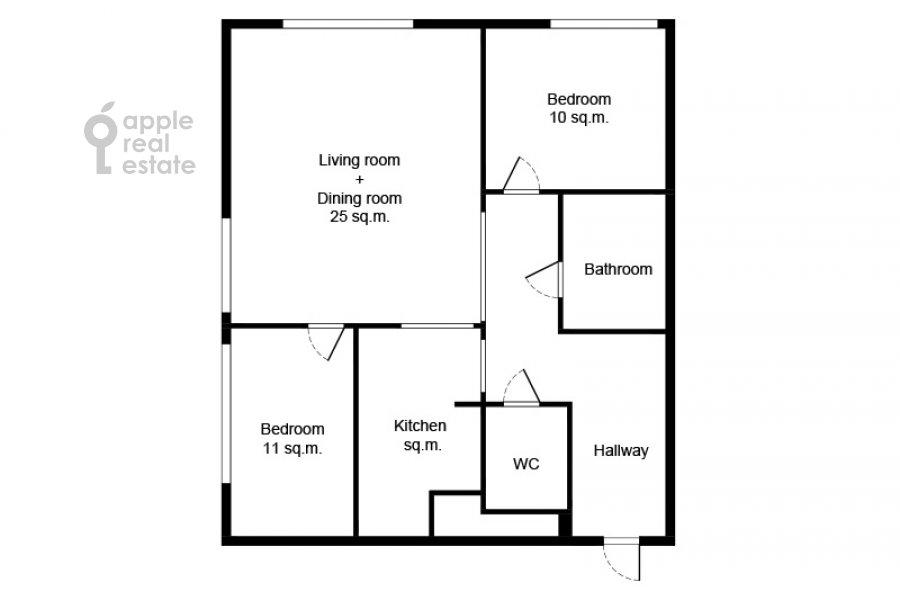 Поэтажный план 3-комнатной квартиры по адресу Станиславского 11