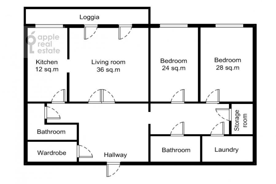 Поэтажный план 3-комнатной квартиры по адресу 4-й Крутицкий пер. 14