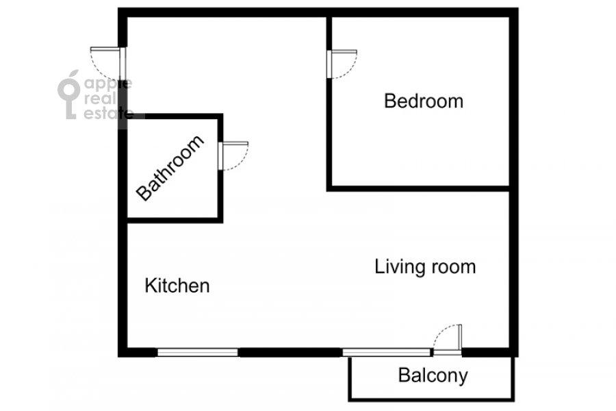 Floor plan of the 2-room apartment at Gagarinskiy per. 27