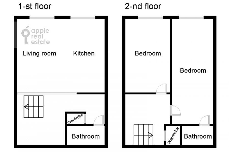 Поэтажный план 3-комнатной квартиры по адресу Кутузовский проспект 23