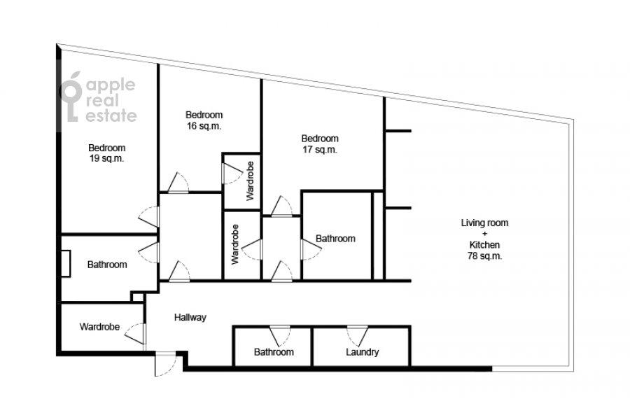 Floor plan of the 4-room apartment at Tsvetnoy bul'var 2
