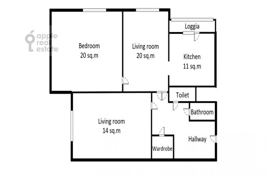 Floor plan of the 3-room apartment at Sokolinoy Gory 8-ya ul. 8k2