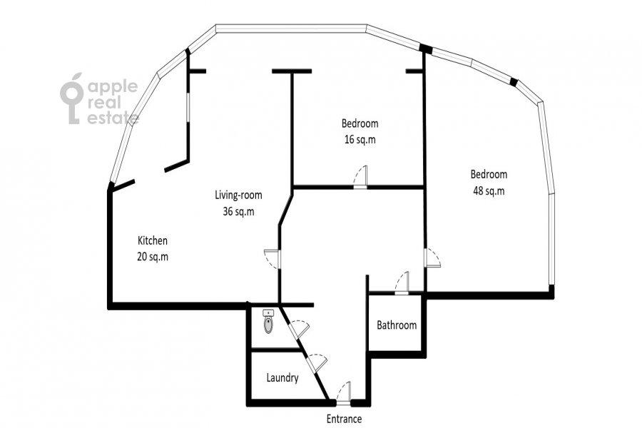 Floor plan of the 3-room apartment at Vernadskogo pr-t. 105k4