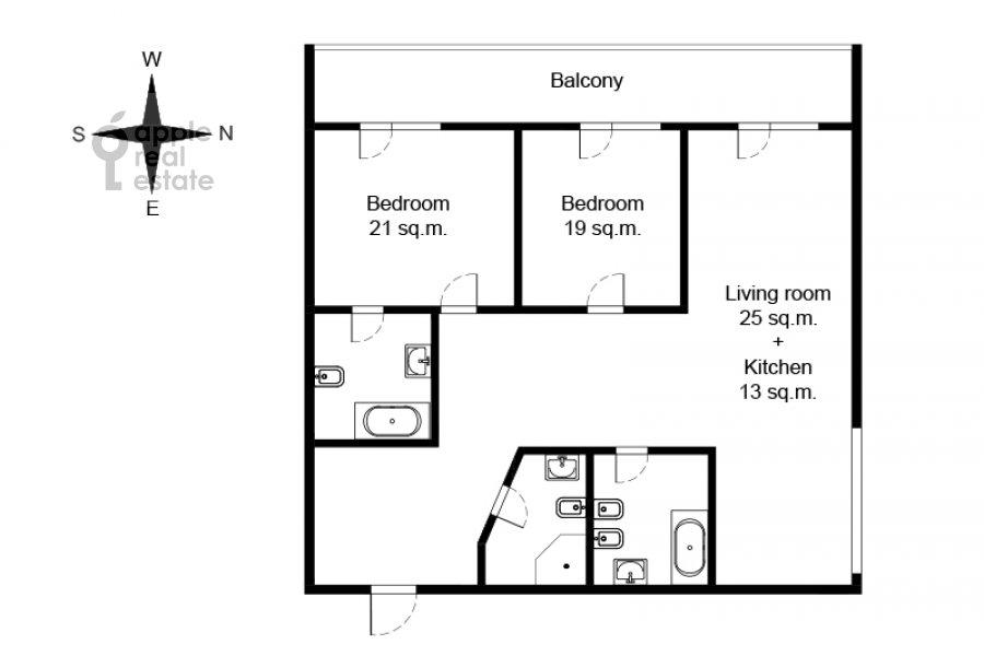 Floor plan of the 3-room apartment at ul. Studencheskaya 20k1