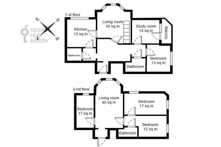 Floor plan of the 6-room apartment at Tatarskaya ul. 18