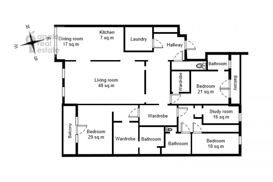 Floor plan of the 5-room apartment at Yakimanskiy pereulok 6