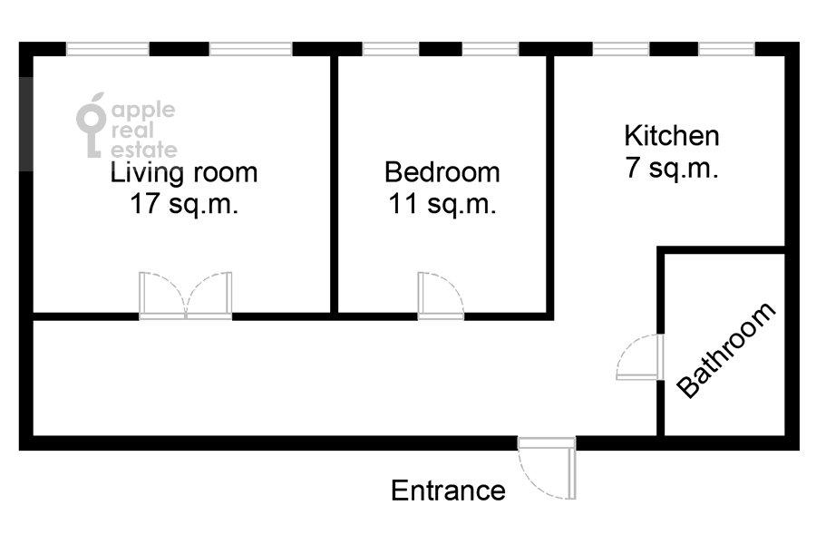 Поэтажный план 2-комнатной квартиры по адресу Константина Симонова ул. 8