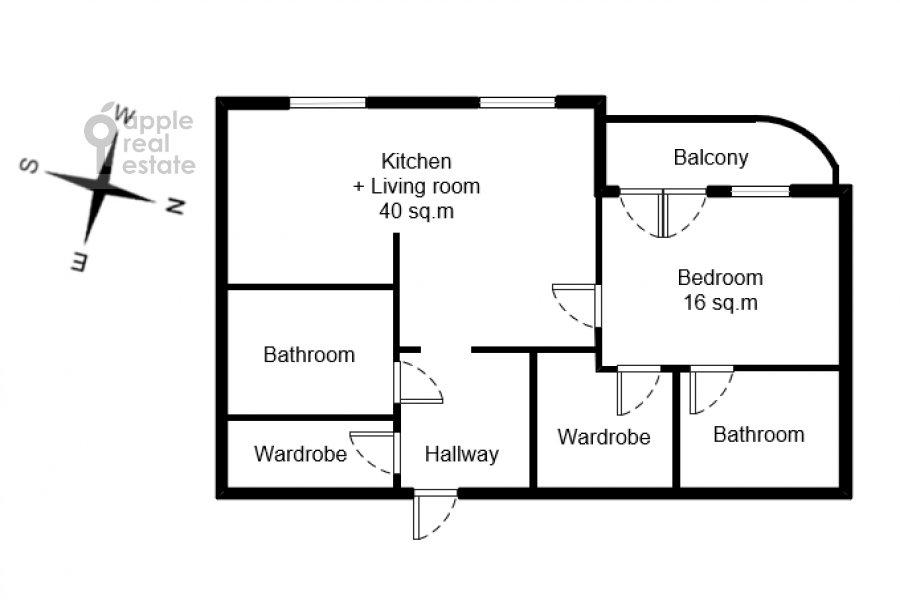Floor plan of the 2-room apartment at Polyanka Malaya ul. 2