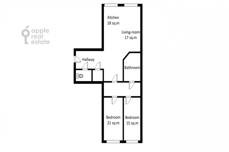 Floor plan of the 3-room apartment at Pogorel'skiy per. 6