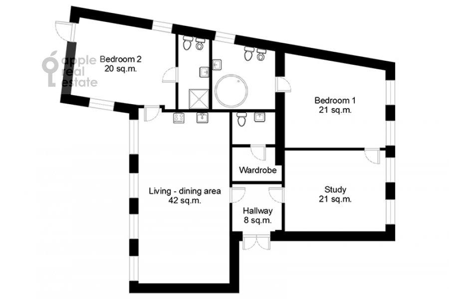 Floor plan of the 4-room apartment at Sadovaya Bol'shaya ul. 10