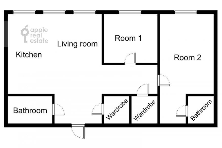 Поэтажный план 3-комнатной квартиры по адресу Пречистенка ул. 25