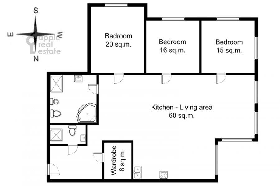 Floor plan of the 4-room apartment at Troitskaya ul. 5