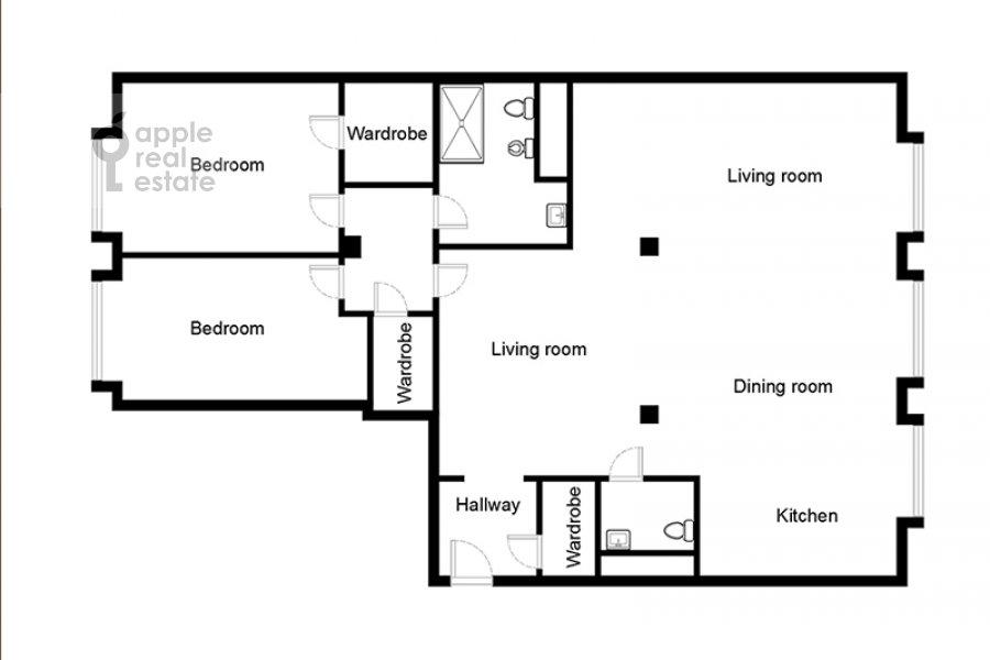 Floor plan of the 3-room apartment at Dokhturovskiy pereulok 6