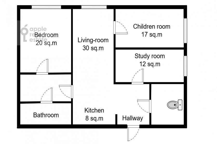 Поэтажный план 4-комнатной квартиры по адресу м-н Северное Чертаново 1А