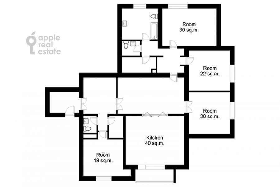 Поэтажный план 4-комнатной квартиры по адресу Плотников пер. 13