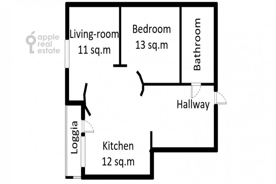 Floor plan of the studio apartment at Ramenki ul. 20