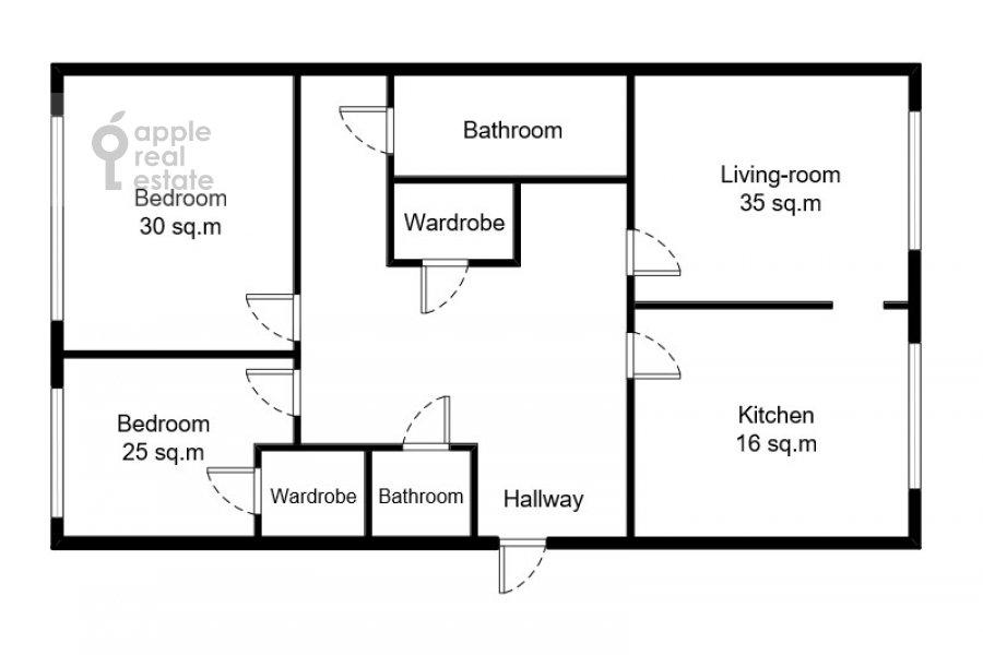 Floor plan of the 3-room apartment at Leninskiy  pr-t. 98k1