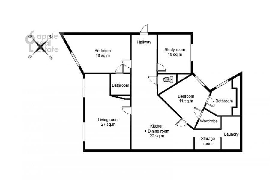 Поэтажный план 4-комнатной квартиры по адресу Сверчков пер. 10
