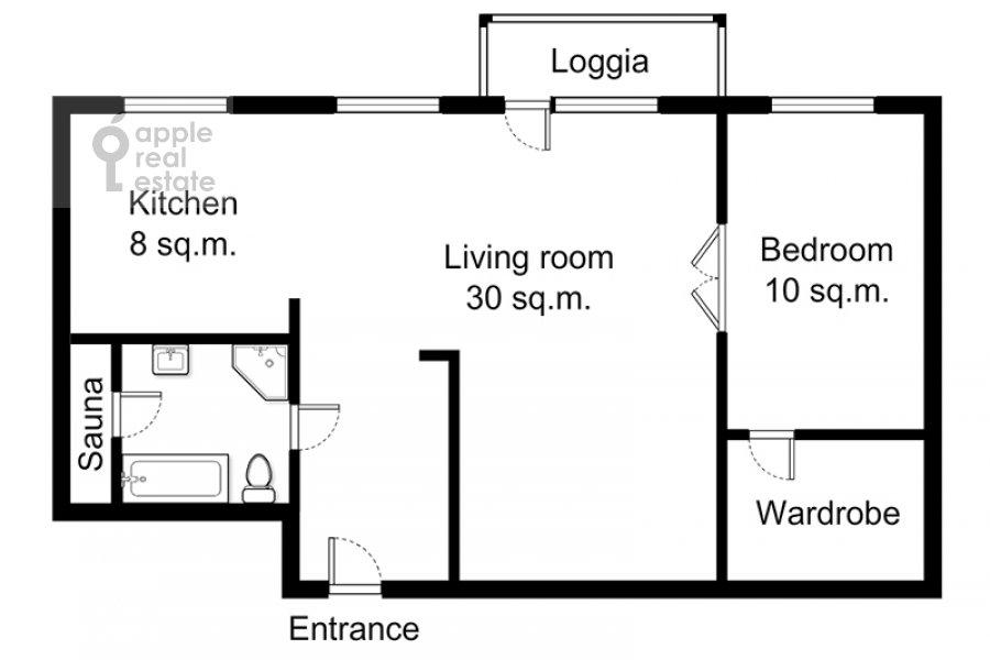 Floor plan of the 2-room apartment at Bol'shaya Gruzinskaya ul. 62