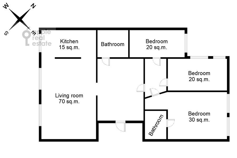 Floor plan of the 4-room apartment at Starokonyushennyy per. 5/14