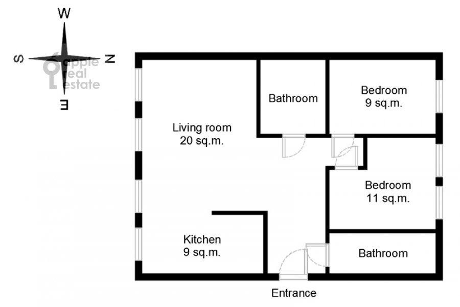 Поэтажный план 3-комнатной квартиры по адресу Луков пер. 4
