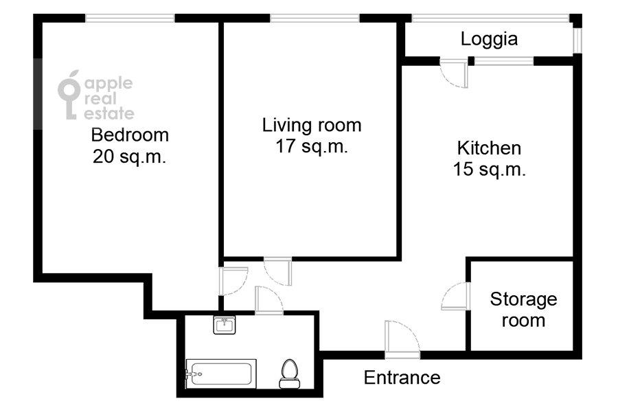 Floor plan of the 2-room apartment at Belomorskaya ul. 11k1