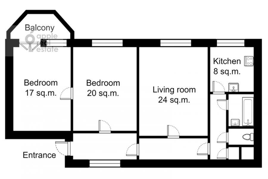 Floor plan of the 3-room apartment at Novinskiy bul. 28/35s1