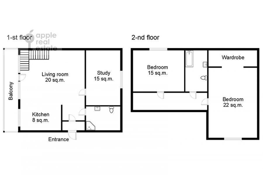 Floor plan of the 4-room apartment at Nashiokinskiy per. 5s5