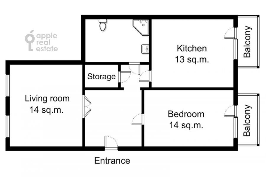 Поэтажный план 2-комнатной квартиры по адресу Тверская ул. 6с1