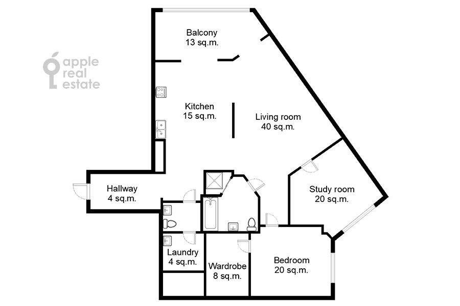 Поэтажный план 3-комнатной квартиры по адресу Шаболовка ул. 10