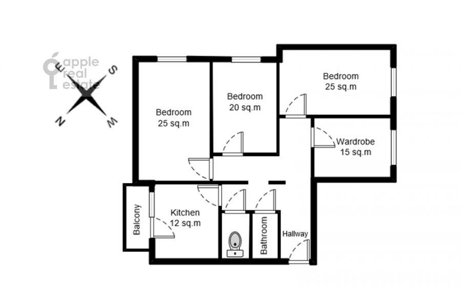 Поэтажный план 4-комнатной квартиры по адресу Рублевское шоссе 18к3