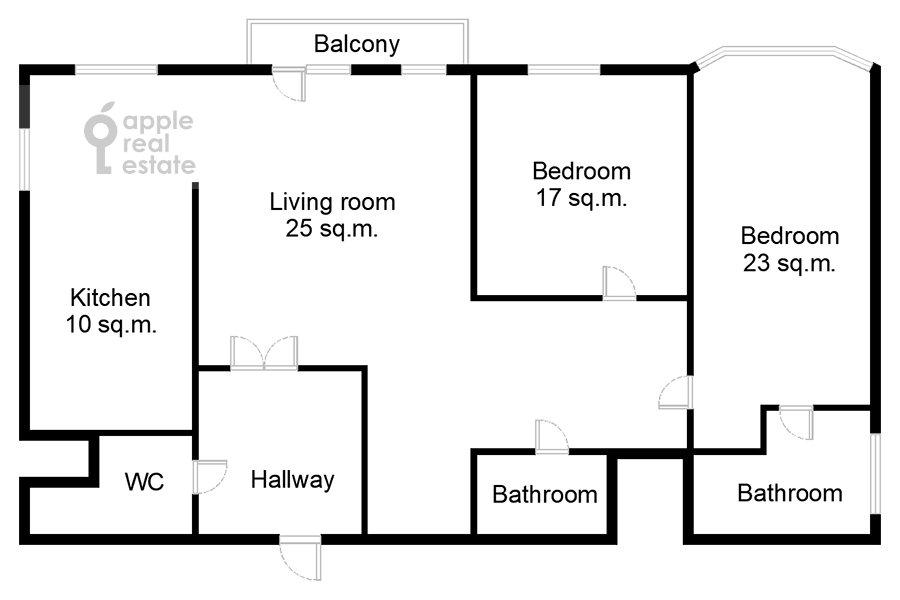 Поэтажный план 3-комнатной квартиры по адресу Большая Грузинская ул. 19