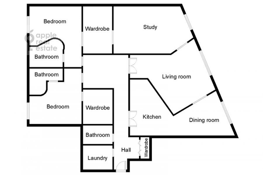 Floor plan of the 5-room apartment at Tsvetnoy bul'var 13s2