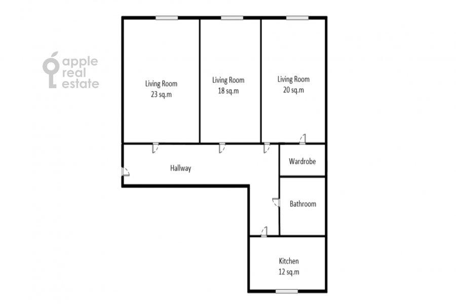 Floor plan of the 3-room apartment at Sadovaya-Kudrinskaya ul. 8/12