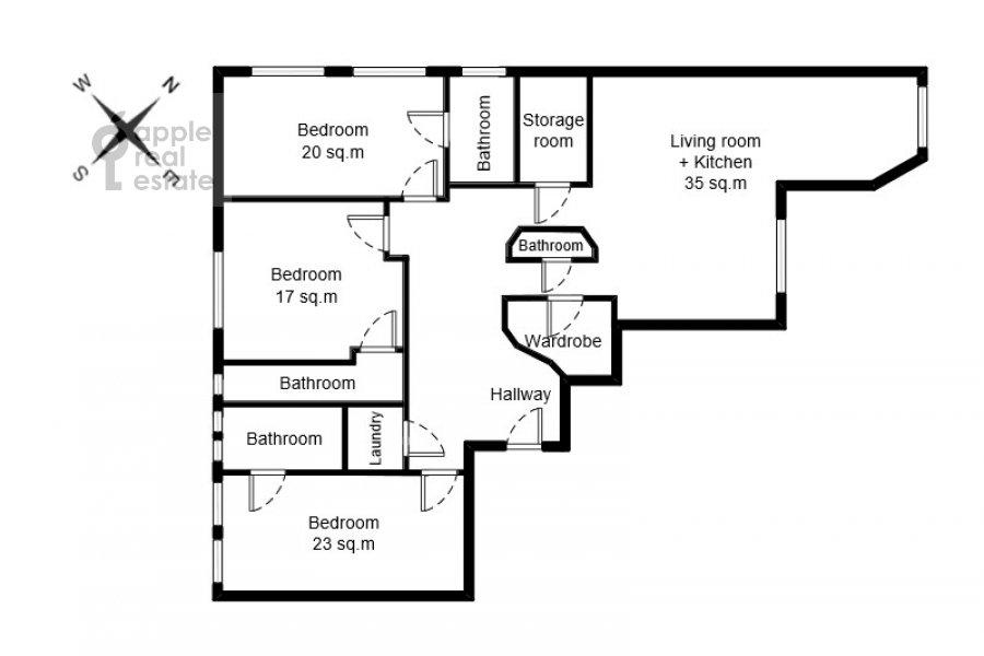 Floor plan of the 4-room apartment at Sadovaya-Chernogryazskaya ul. 3Bs1