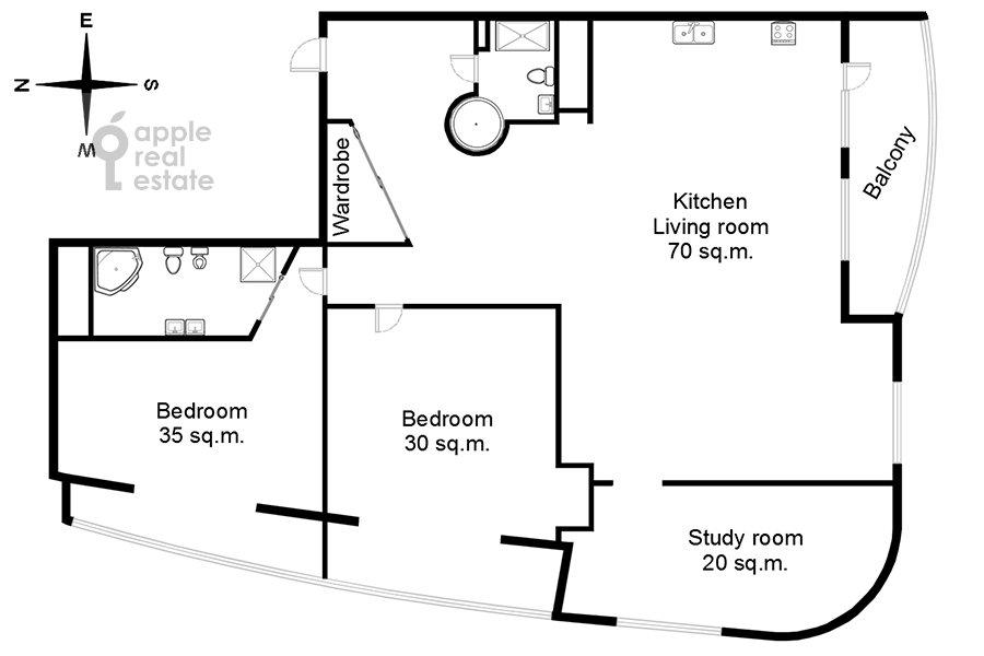 Поэтажный план 4-комнатной квартиры по адресу Весковский туп. 3