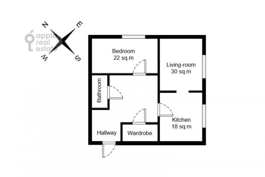 Поэтажный план 2-комнатной квартиры по адресу Протопоповский пер. 17с2
