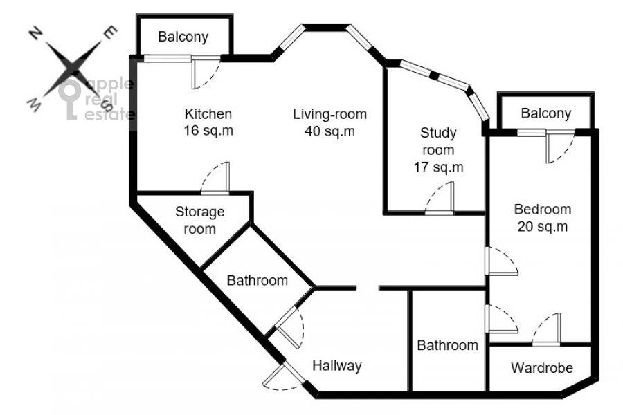 Floor plan of the 3-room apartment at Sechenovskiy per. 2