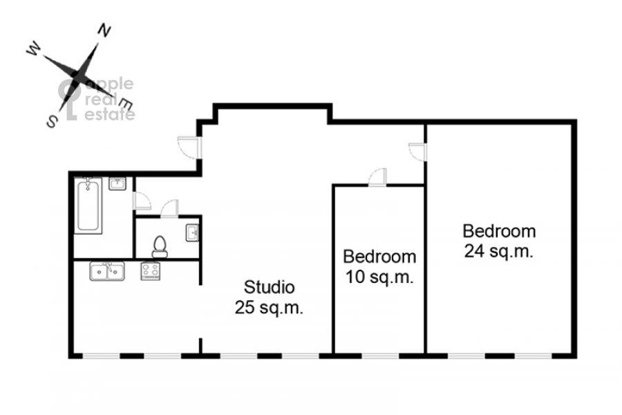 Поэтажный план 3-комнатной квартиры по адресу Макаренко ул. 1/19