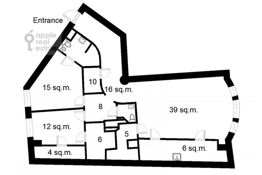Floor plan of the 3-room apartment at 1-y Neopalimovskiy per. 8