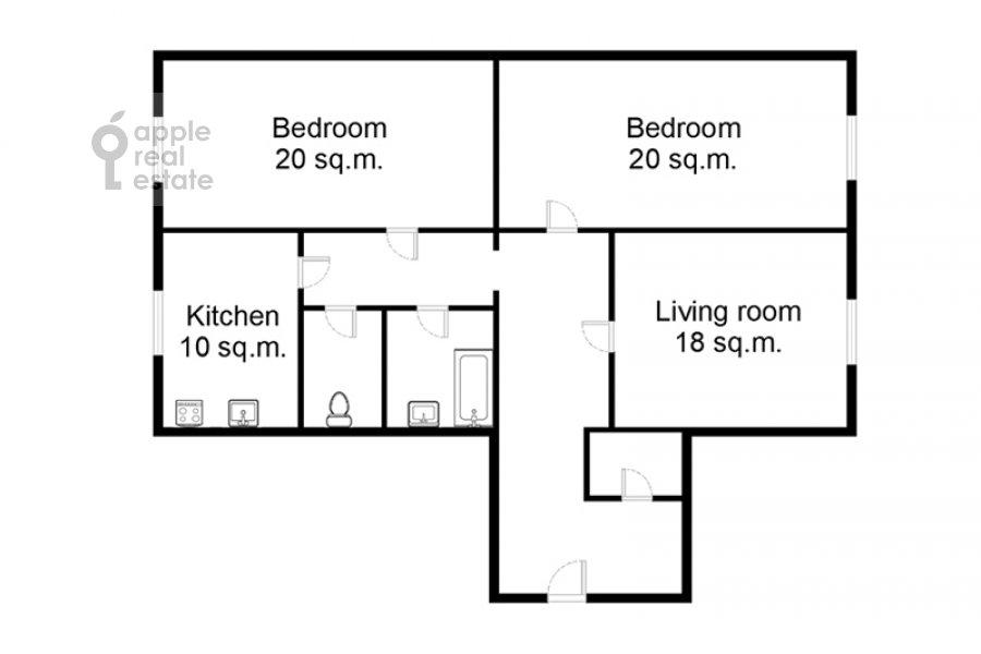 Floor plan of the 3-room apartment at Leont'evskiy pereulok 6s2
