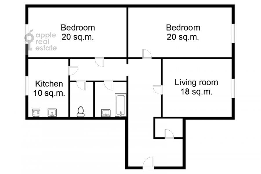 Поэтажный план 3-комнатной квартиры по адресу Леонтьевский пер. 6с2