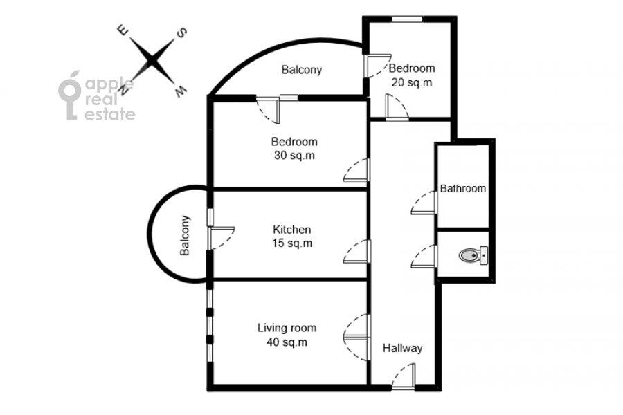Поэтажный план 3-комнатной квартиры по адресу Тверской бульвар 16с5