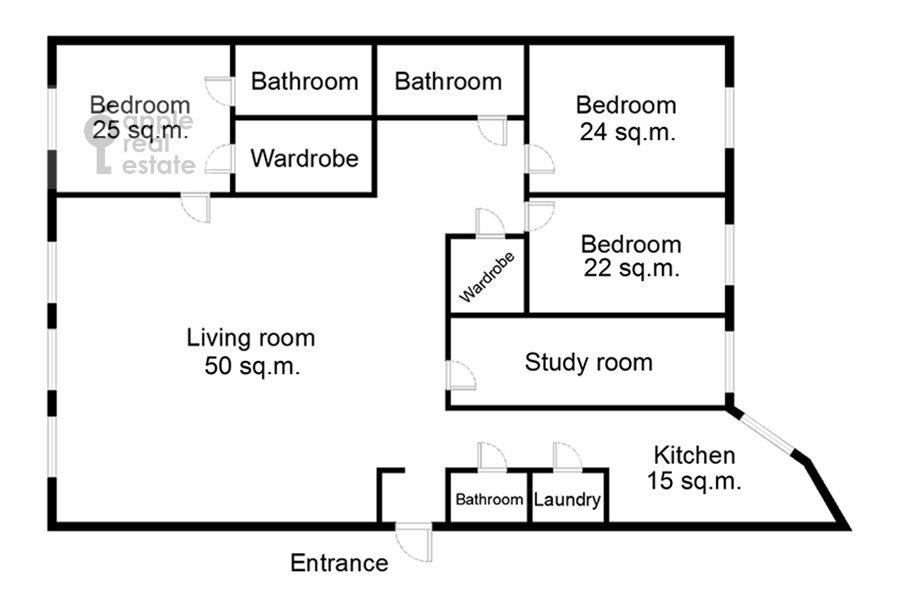 Поэтажный план 5-комнатной квартиры по адресу Огородная Слобода пер. 14