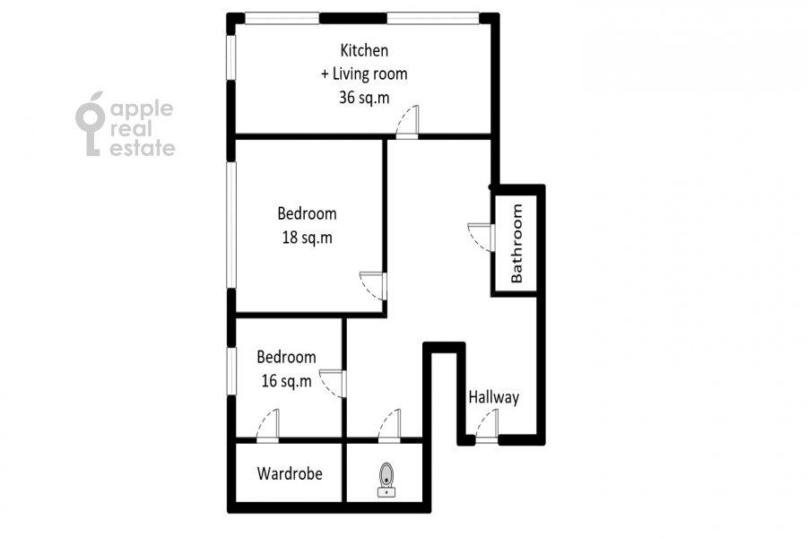 Floor plan of the 3-room apartment at Beregovoy pr. 5k2