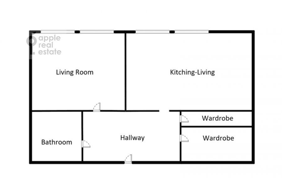 Floor plan of the 2-room apartment at Bol'shaya Sadovaya ulitsa 5k1