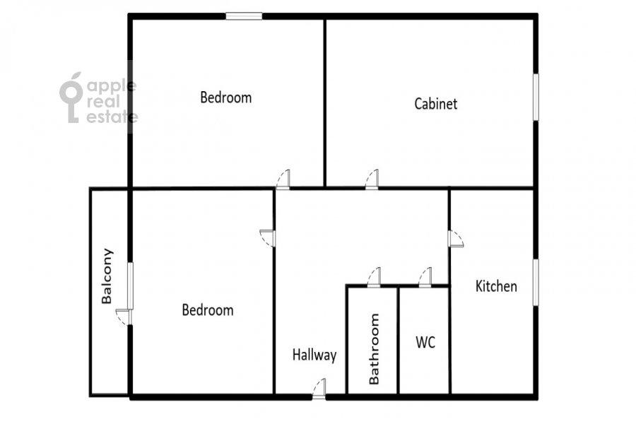 Поэтажный план 3-комнатной квартиры по адресу Троилинский переулок 4/7