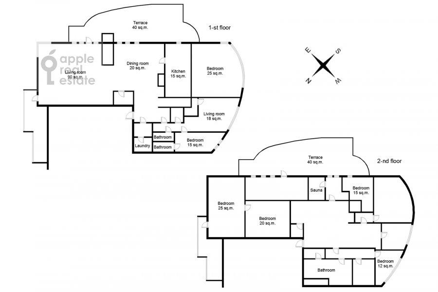 Floor plan of the 6-room apartment at Leninskiy  pr-t. 106k1