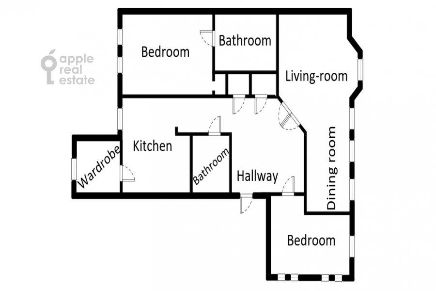 Floor plan of the 3-room apartment at Tsvetnoy b-r 9